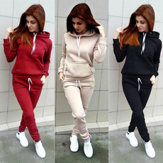 autumnwinter, Fleece, hooded, womencasualsuit
