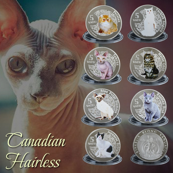 Wr Art Craft A Set Of Sphynx Cat Silver Foil Plated Coin Zinc Alloy Animal Coins Wish