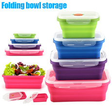 Box, siliconebento, foodstoragecontainer, foldinglunchbowl