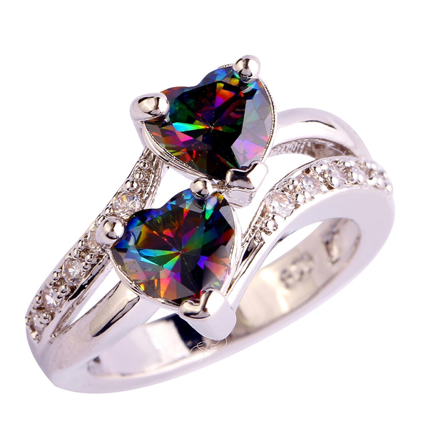 Heart, lover gifts, 925 silver rings, rainbow