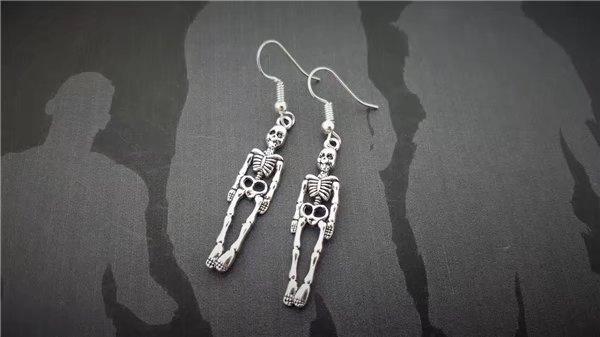 charmearring, Goth, Dangle Earring, Skeleton