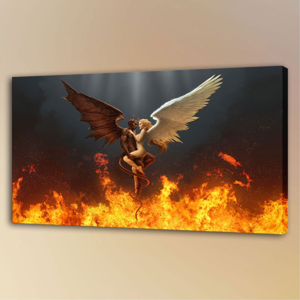 devils, Bar, Angel, Oil Painting On Canvas