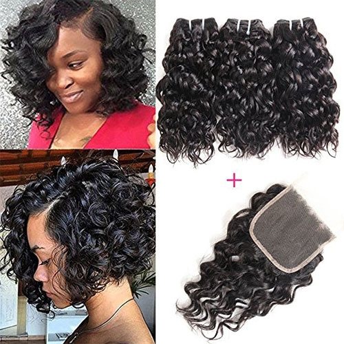 brazilian hair bundles water wave curly weave short hairstyles unprocessed  virgin hair extensions with lace closure 50g one bundle 3 bundles 150g