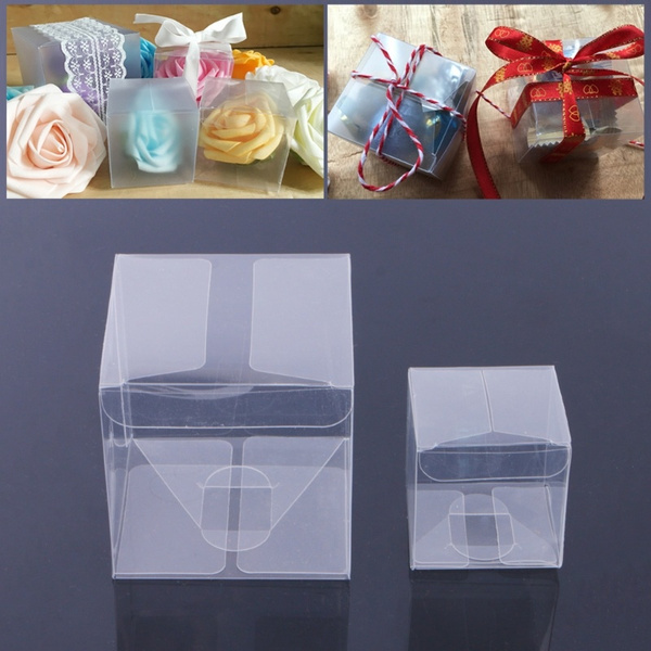 10 Pcs Wedding Transparent Cube Favour Boxes Sweet Candy Cake Gift Bags 2 Sizes Noc Wish