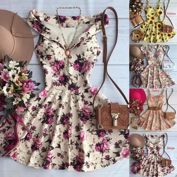 Summer, Flowers, A-line, Dress