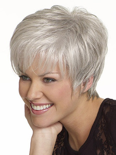 shorthairwig, Fashion, grayhair, heatresistantwig