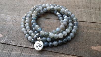 Beaded Bracelets, Yoga, Jewelry, stretchwrapbraceletgemstonewraplotusbracelet