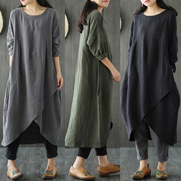 Fashion, cottonlinen, Sleeve, Dresses