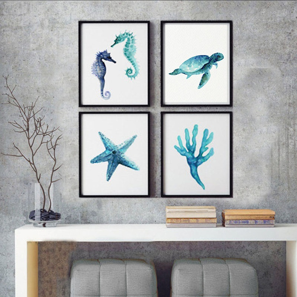 Turtle, Blues, art, oceaniccreature