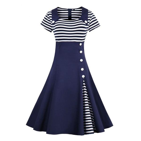 Slimwaist, Swing dress, short sleeve dress, pleated dress