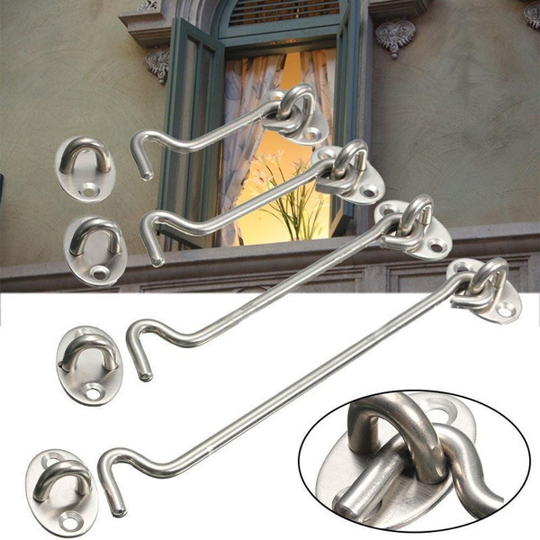 Cabin Hook And Eye Latch Lock Shed Gate Door Catch Silent Holder Stainless Steel