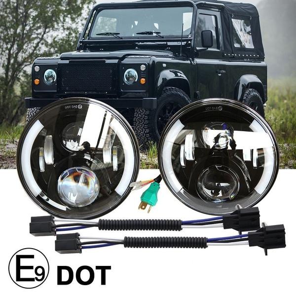 UNI-SHINE 7 inch LED Headlight Round Amber White Angel Eyes DOT E-MARK Approved 6000K 3500K Hi//lo Beam and DRL lamp,J005Z-W-pair