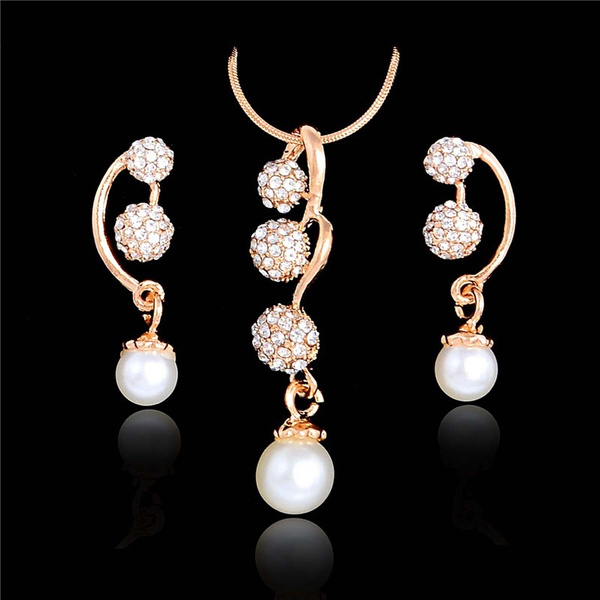 Cubic Zirconia, Bridal Jewelry Set, Pearl Earrings, Crystal