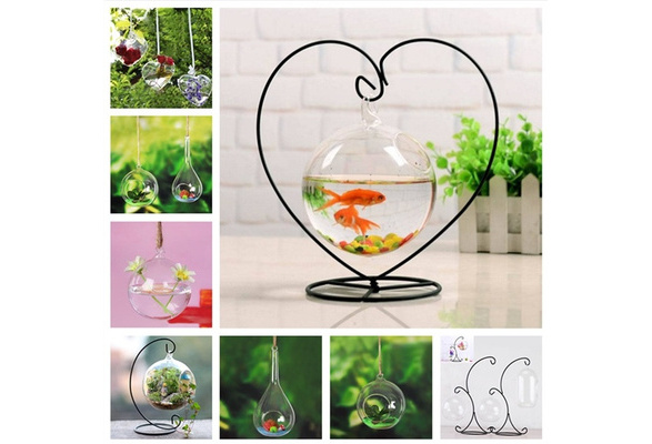 Christmas Ornament and Home Wedding Decoration Witch Ball VOSAREA Ornament Display Stand,Black Iron Hanging Stand Rack Holder for Hanging Glass Globe Air Plant Terrarium
