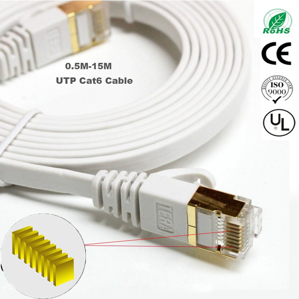 SOONHUA RJ45 CAT6 Ethernet Network Flat LAN Cable UTP Patch Router Cables 1000M White 15meters