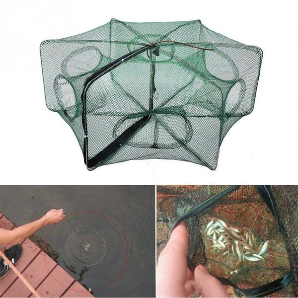 Automatic Fishing Nets 6 Hole Fishing Trap Folded Hexagon Mesh Shrimp Cast K9K2