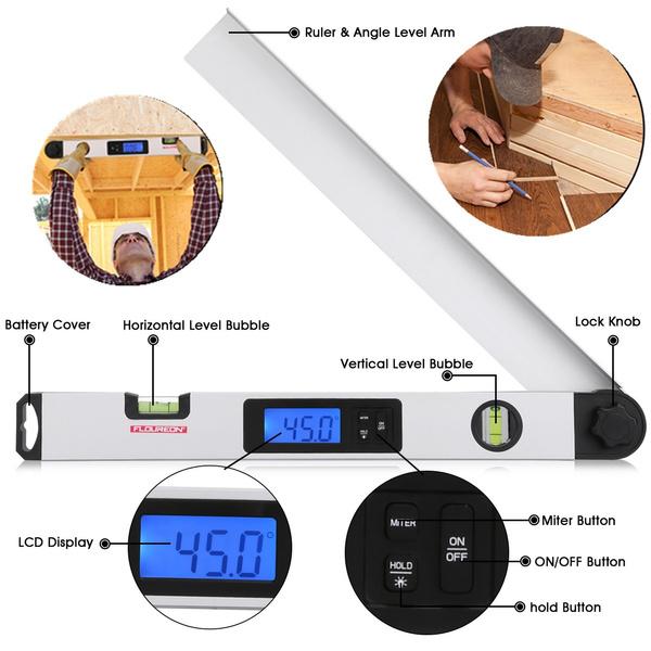 LCD Digital Angle Finder Ruler Protractor Measure Tools 0-230° Angle Gauge+Light