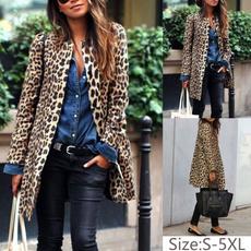cardigan, Winter, Long Coat, leopard print