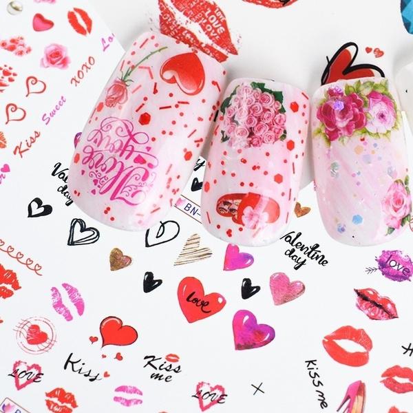 nail decoration, pink, art, heartnailsticker