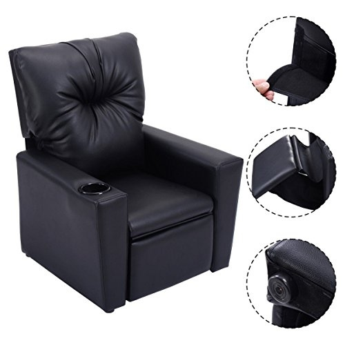 Kids Recliner With Cup Holder Black, Child Recliner Chair With Cup Holder
