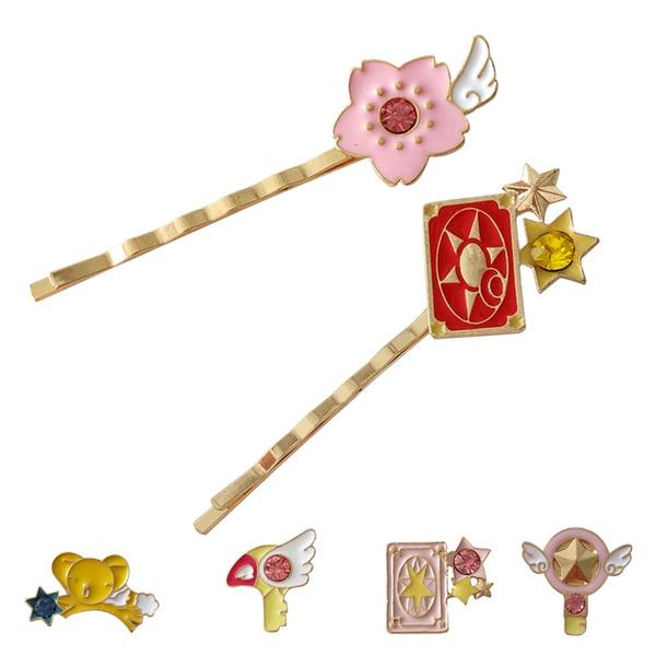 cartoonhairpin, metalhairpin, flowerhairclip, cardcaptorsakura