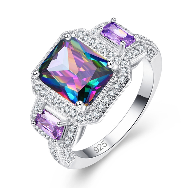 rainbow, 925 sterling silver, wedding ring, Silver Ring