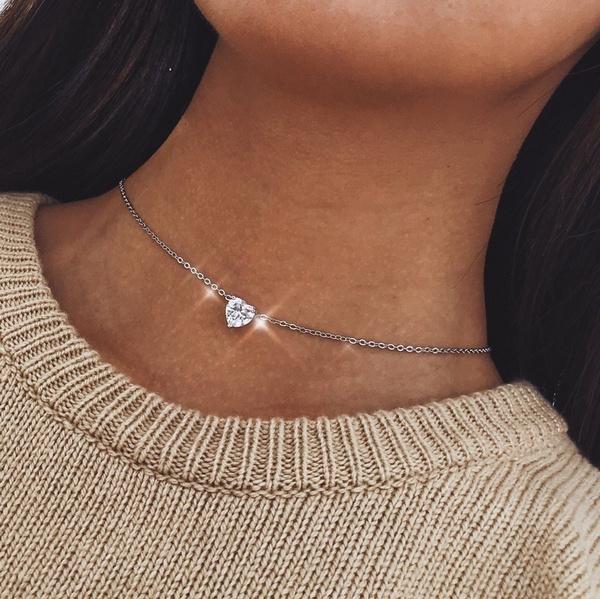 alloychoker, Heart, Fashion, goldchainnecklace