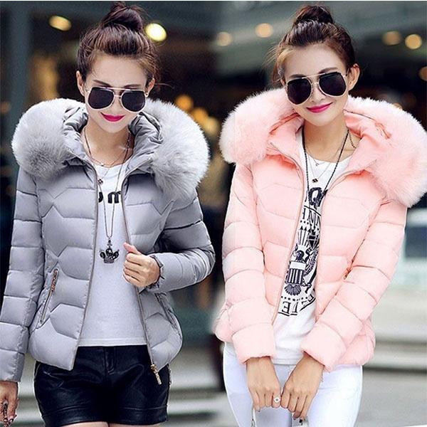 furcollarcoat, Plus Size, Cotton, Winter