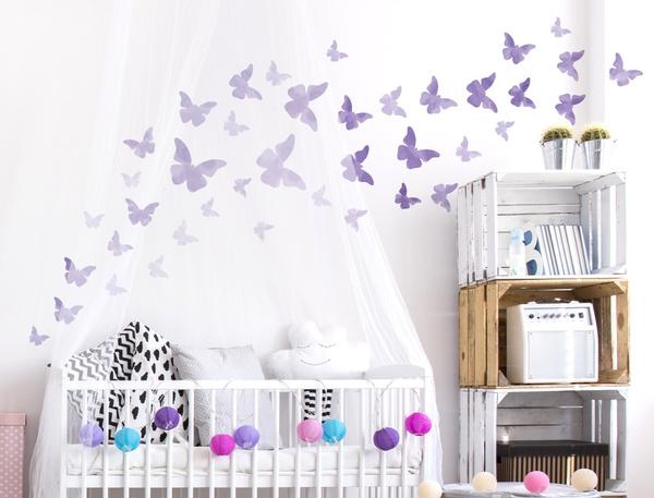 kinderzimmer, individuell, babyzimmer, schmetterlingsschwarmwandtattoo