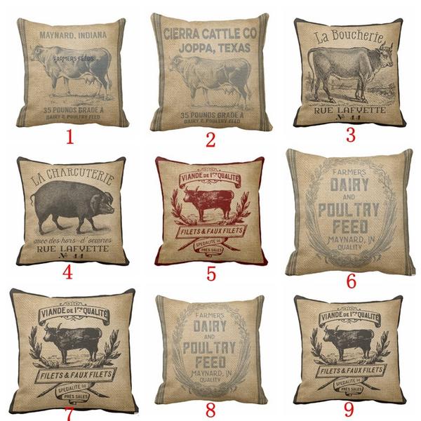 farmampcountryside, cow, Vintage, carthrowpillow