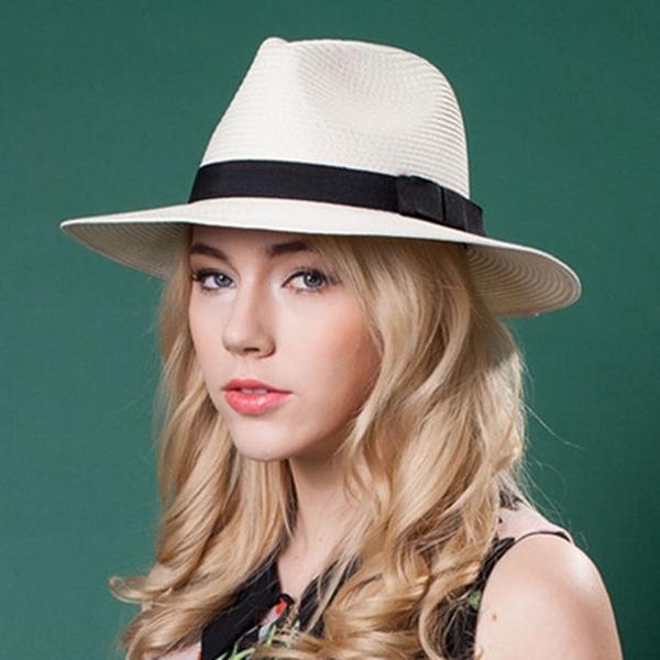 Men Women Panama Fedora Hat Trilby Cap Straw Wide Brim Sunhat Sombrero Sunbonnet