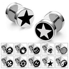 barbellearring, Steel, titanium steel, Jewelry
