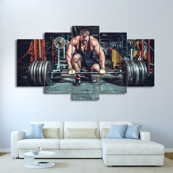 Weight Power Lifting Gym Fitness Wall Art Multi Panel Poster Print 47X33 Inches