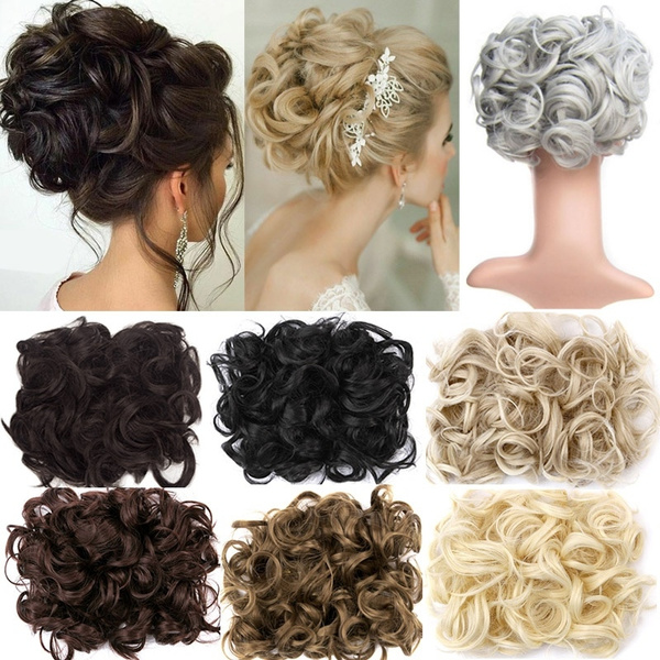 Curly Easy Clip In Hair Bun Synthetic Hair Chignon Hair Ponytail Extensions