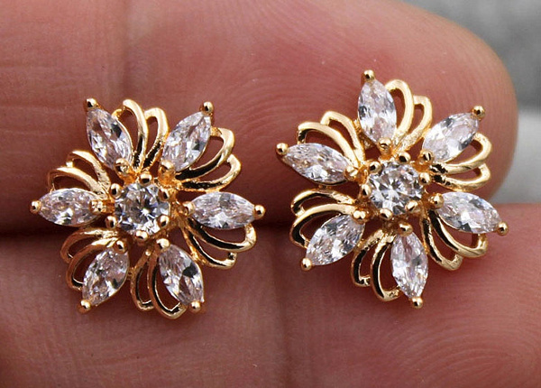 yellow gold, Flowers, Gemstone Earrings, topazearring