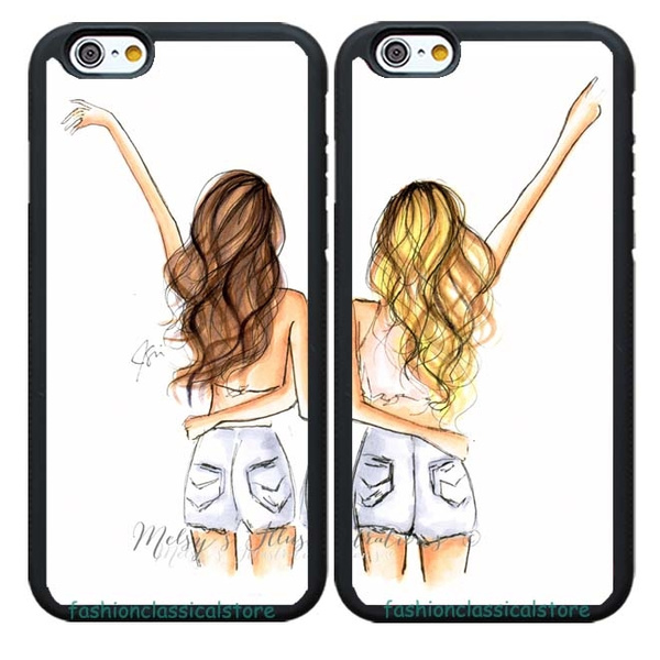 2PCS Best Friends BFF Girl Matching Cell Phone Covers Rubber Case For Samsung Galaxy S3/S4/S5/S6/S7/S8 Note 2/3/4//5/8 iPhone ...