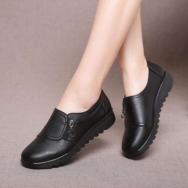 Women Leather Shoes Ladies Slip