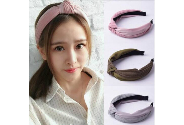 FeiFei66 1PC Women Fashion Bow Knot Dot Print Hairband Women Hair Bands Sweet Girls Hairbands