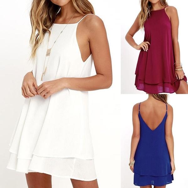 Sleeveless dress, alinedresse, Mini, chiffon dress