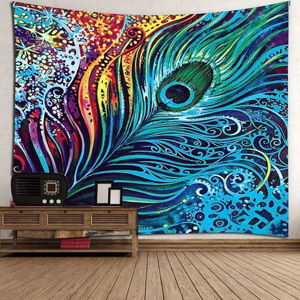 colorfulpeacockfeathertapestry, Decor, indianwalldecoration, art