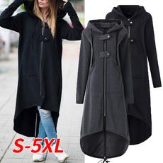 Hoodies, irregularhemcoat, Fashion, women coat