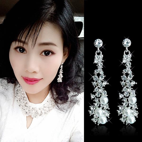 Crystal, Jewelry, Pearl Earrings, Bride