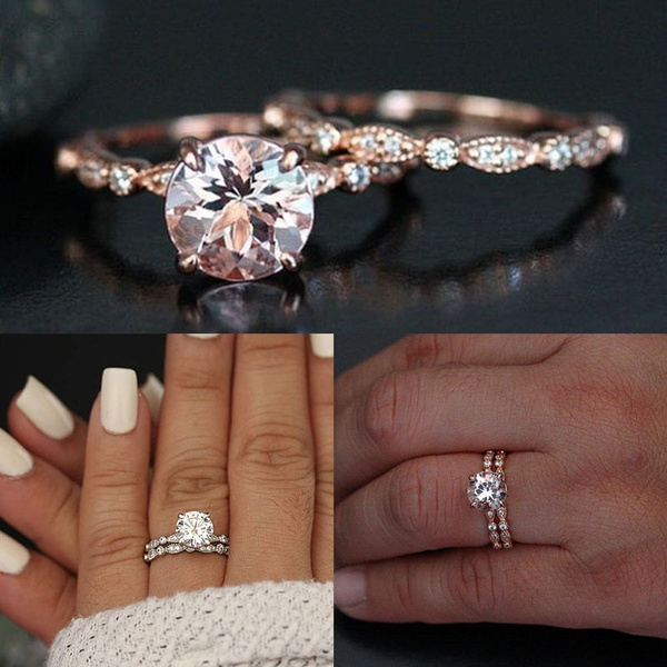 Moissanite White Sapphire 18 K Rose Gold Filled Engagement Wedding Ring Sets Diamond Milgrain Band Solitaire Diamond Ring Promise Rings Women Bridal Jewelry Wish