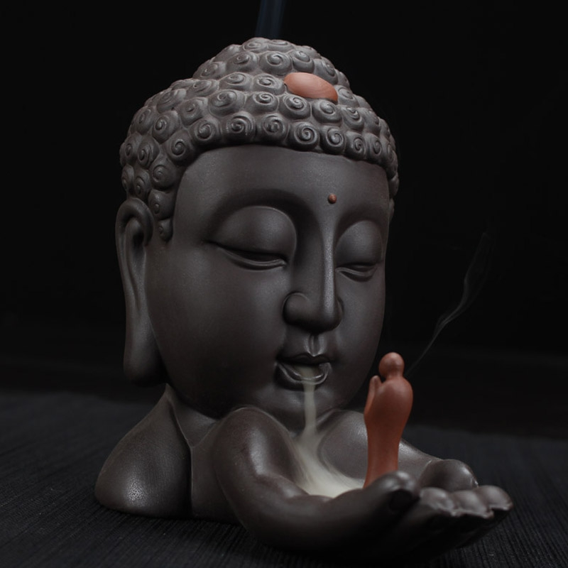 Ceramic Smoke Backflow Cone Censer Holder Incense Burner Decoration Buddhist
