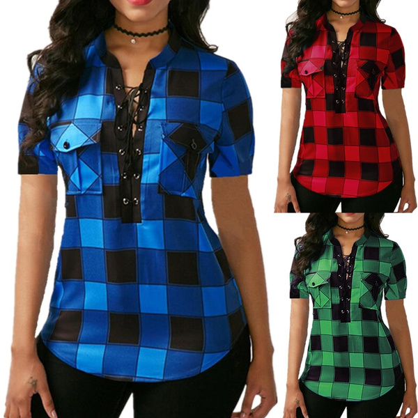 plaid shirt, blouse, Fashion, Lace