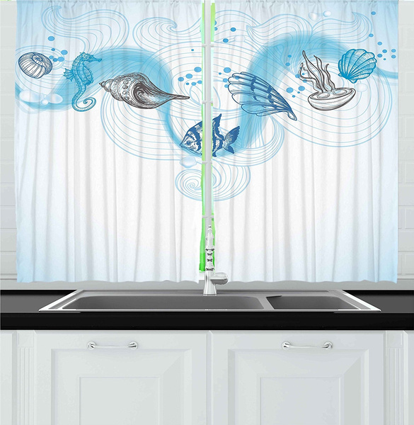 Nautical Kitchen Curtains Marine Theme Seashells Ocean Waves Fishes Seahorse Swirls Curves And Bubbles Window Drapes 2 Panels Set For Kitchen Cafe Bathroom Shower Curtain Wish