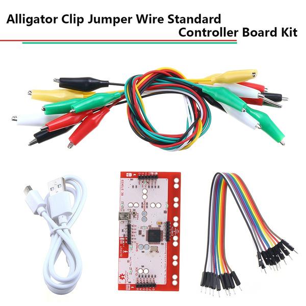 jumperwire, doubleendedcrocodileclip, controllerboard, alligator