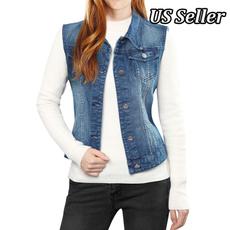 Vest, sleevelessjacket, washeddenimjacket, Classics