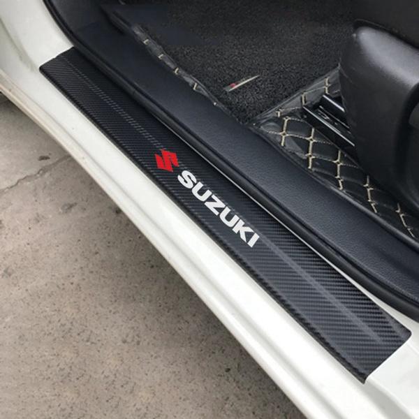 for Suzuki X5 Liana Alto Swift Antelope SX4 S-Cross Jimny Vitara Carbon Fiber Door Sill Protector Scratch Door Sill Guard 4D Welcome Pedals Guards Threshold Sticker Sticker Red 4Pcs