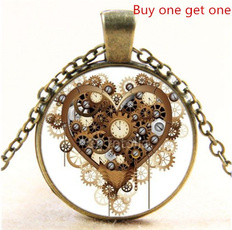 Heart, Chain Necklace, cabochon, Jewelry